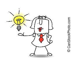 presenterar, karen, idé