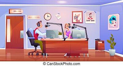 presenters , ραδιόφωνο , οικοδεσπότες , dj , γυναίκα , στούντιο , άντραs