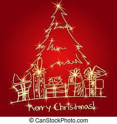 presentes, árbol, navidad
