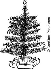 presentes, árvore, natal, esboço