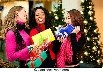 presentes, amigos, alameda, compras, navidad