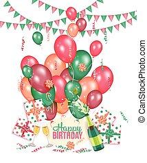 presentes, aniversário, cartão cumprimento, champanhe