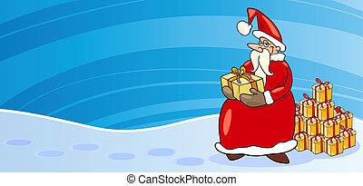 presentes, cartão, claus, caricatura, santa