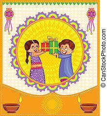 presentes, celebrando, diwali, crianças
