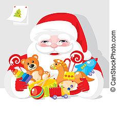 presentes, claus, -, santa, brinquedos