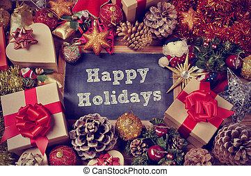 presentes, e, ornamentos natal, e, a, texto, feliz, feriados