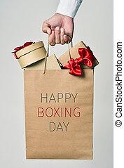 presentes, e, texto, feliz, boxeie dia