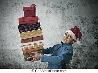 presentes, empilhado, natal, criança
