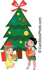 presentes, feliz, crianças, natal, abertura