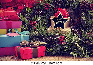 presentes, grinalda natal, e, texto, feliz natal, em, um, estrela-forma