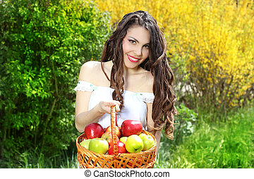 presentes, maçãs, cesta, menina, vestido, branca