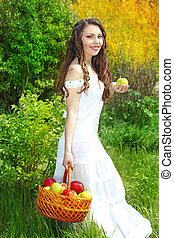 presentes, maçãs, femininas, cesta, sorrindo, vestido, branca
