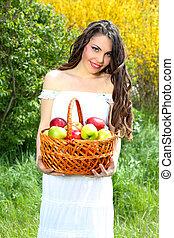 presentes, maçãs, femininas, cesta, vestido branco