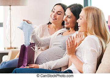 presentes, mujer, ella, embarazada, joven, regalos, ducha,...