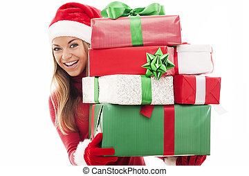 presentes, mulher, Natal
