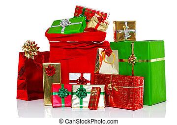 presentes, navidad, saco, aislado