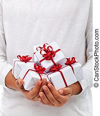 presentes, niño, navidad, manos