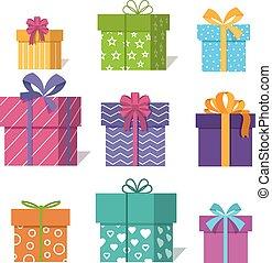 presentes, ou, ícones, ilustração, valentine, presentes, caixas, vetorial, desenho, xmas