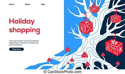 presentes, página, desenho, branco vermelho, árvore, teia