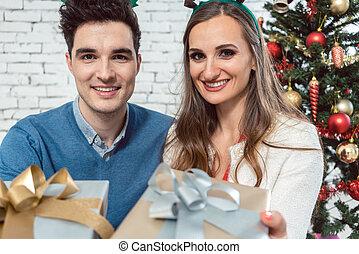 presentes, par, prata, ouro, natal
