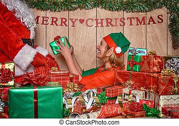presentes,  puttings, Duende, Santa, Saco