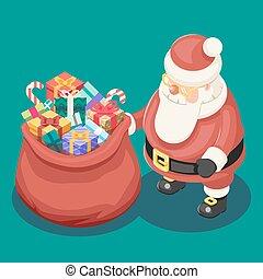 presentes, saco, cute, isometric, 3d, natal, papai noel, avô, geada, caixa, ano novo, caricatura, apartamento, desenho, ícone, modelo, vetorial, ilustração