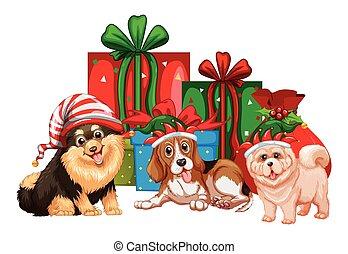 presentes, tema, perros, navidad