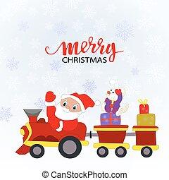 presentes, trem, claus, brinquedo, santa