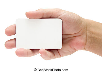 Presenting a Business Card - Female hand holding a blank...
