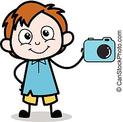 Presenting a Camera - School Boy Cartoon Character Vector Illustration