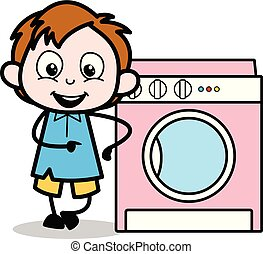 Presenting a Washing Machine - School Boy Cartoon Character Vector Illustration