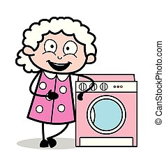 Presenting a Washing Mashine - Old Woman Cartoon Granny...
