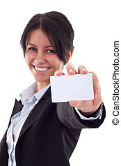 Attractive Business woman Closeup - presenting her business card