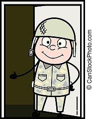 Presenting - Cute Army Man Cartoon Soldier Vector Illustration