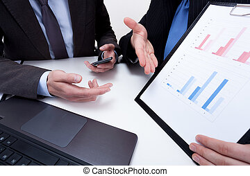 Presenting financial data on business meeting