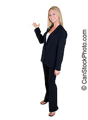 Full body of an attractive young blonde woman in professional business suit standing sideways holding up hand as in showing something behind her standing on white