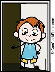 Presenting Gesture - School Boy Cartoon Character Vector Illustration