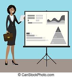 presenting., mulher americana, negócio, africano