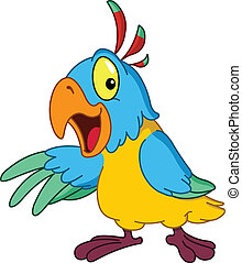 Presenting parrot - Cartoon parrot presenting with his wing