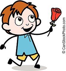 Presenting Rose - School Boy Cartoon Character Vector Illustration