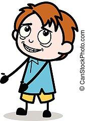 Presenting - School Boy Cartoon Character Vector Illustration