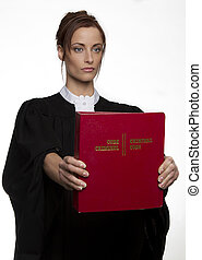 Presenting the law - Women dress as a canadian attorney,...