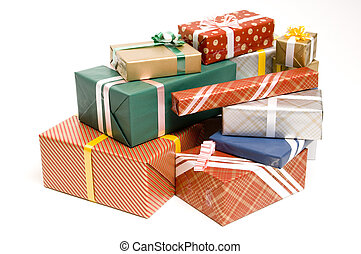 A big pile of gifts waiing to be unwrapped