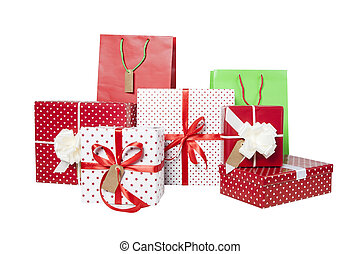 Presents and giftbags isolated - Stack of Christmas gifts ...