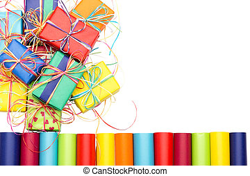 Presents and wrapping paper - Many colorful gifts and...