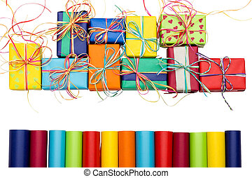 Presents - Assortment of wrapping paper and colorful gifts