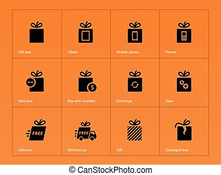 Presents box icons on orange background.