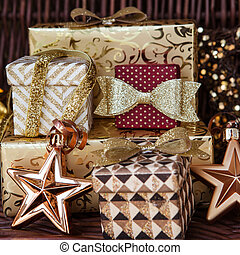Presents for christmas - Glittery wrapped presents and...