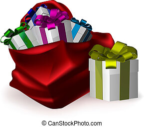 presents for everyone - an illustration of gifts bursting...