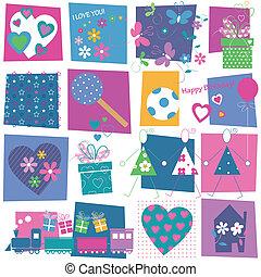 presents, hearts, цветы, шаблон